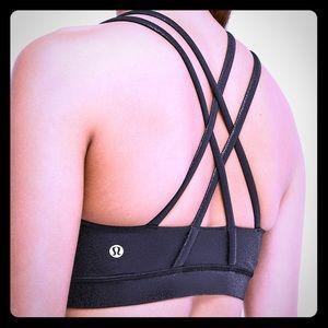 Lululemon energy sports bra in black foil